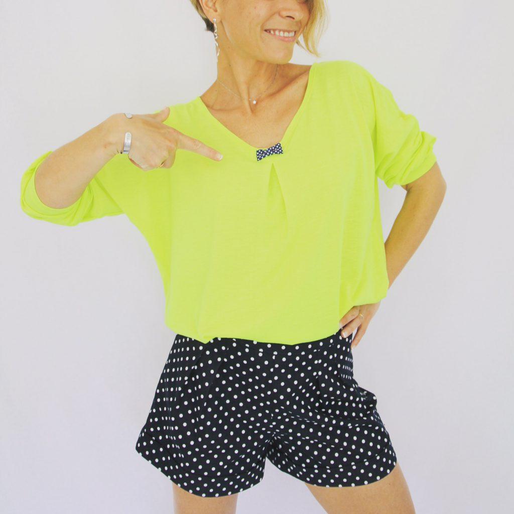 Short Burda 102 B Burda Style mai 2016 et T-shirt loose MCPB par la Jolie Girafe
